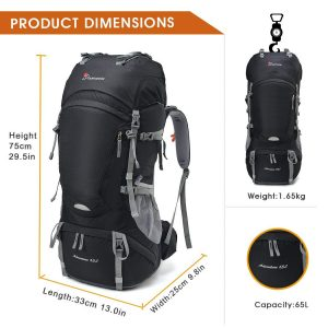 Backpack dimensions for Mountaintop 55L backpack