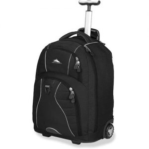 High Sierra Freewheel backpack has the advantage of wheels to make carrying you luggage easier