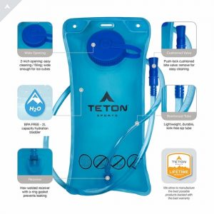 Rigged 2 liter hydration bladder from Teton Sports